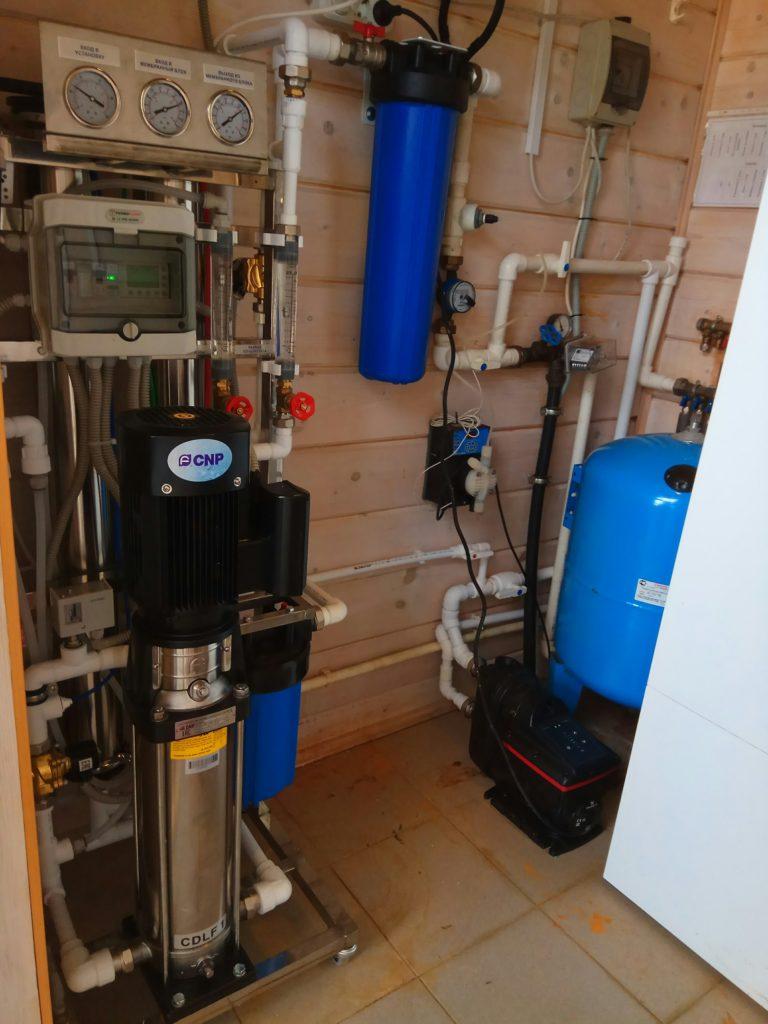 Система очистки воды с обратным осмосом для коттеджа в д. Корабсельки