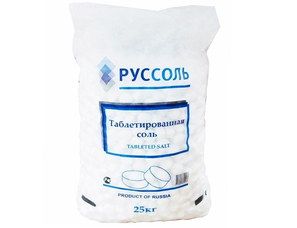 Таблетированная соль в полиэтиленовых мешках по 25 кг.